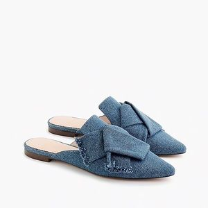Pointed toe slides in denim flats